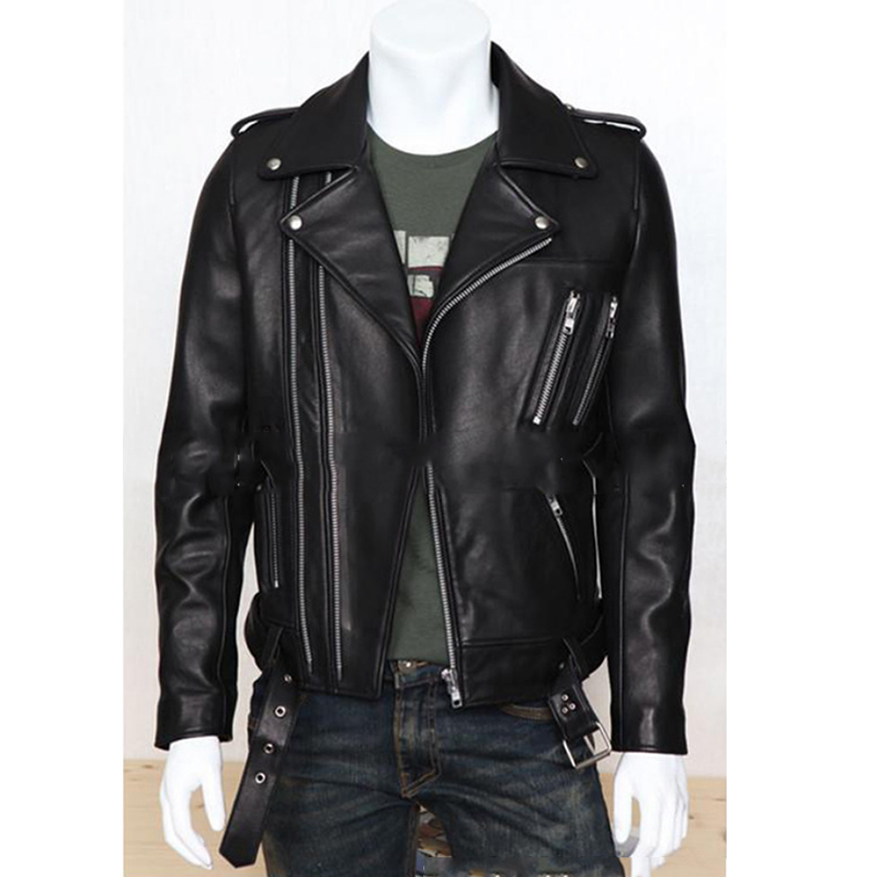 Plus Size PU Leather Jacket Men Autumn Fashion Long Sleeve Stand Collar Jacket Winter Zipper Patchwork Faux Leather Coat