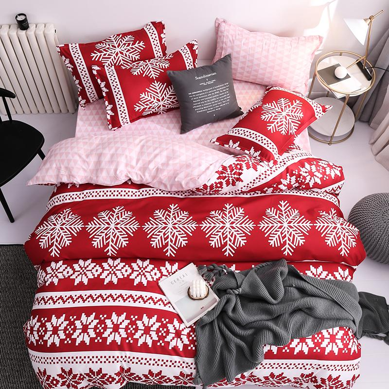 50 Red Christmas Snowflake Bedding Set Unicorn Bed Linen Duvet Cover Flat Sheet Pillowcase Sets Queen King Twin Full Size