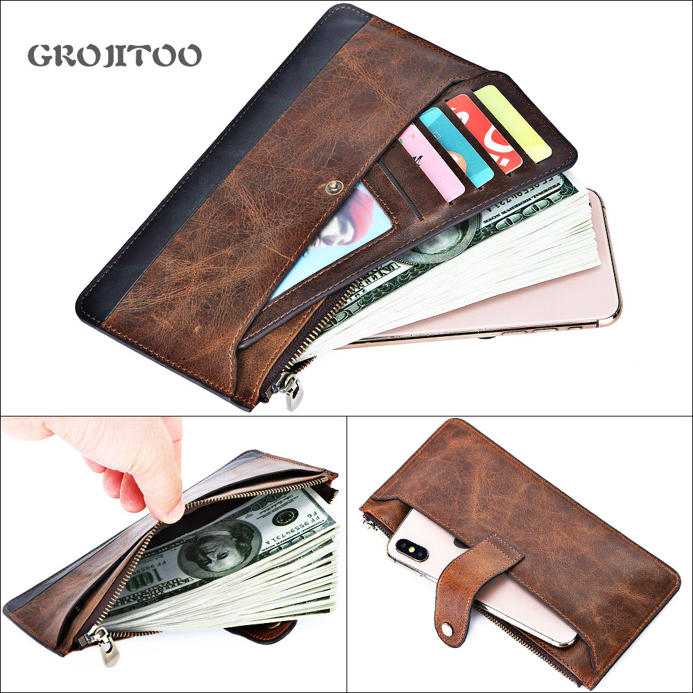 Mingshi new leather men's long wallet leisure business first layer cowhide men's bag thin handbag