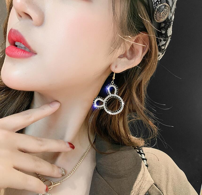 Earrings Dangle Set With Crystal Mickey Mouse Cartoon 2020 Fashion Cute Gift Fine Jewelry Accessories For Woman