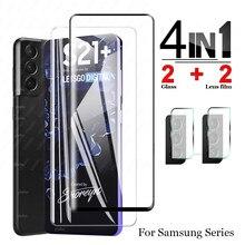 Cristal protector para Samsung Galaxy S21 Plus S20 Fe, protector de pantalla para cámara, lente de cristal para Samsung A12 A02s S21 + cubierta