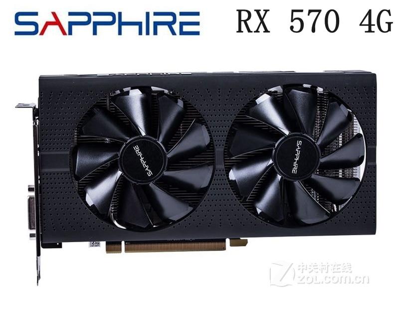 USED Sapphire RX570 4G Platinum Edition Video Card 7000MHz GDDR5 256bit HDMI+DVI+DP*3 PCI-X16 8PIN DP HDMI DVI Graphics Cards