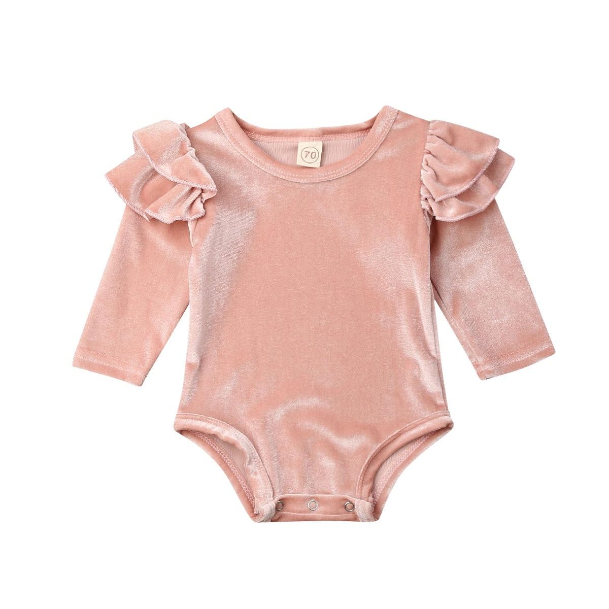0-18M Newborn Infant Baby Girls Velvet Romper Long Sleeve Ruffles Jumpsuit Princess Baby Girl Autumn Spring Clothes Solid