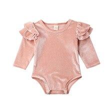 0-18M Newborn Infant Baby Girls Velvet Romper Long Sleeve Ruffles Jumpsuit Princ