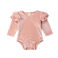 0-18M noworodek dziewczynek Velvet Romper kombinezon z długim rękawem księżniczka dziewczynka ubrania jesienno-wiosenne solidne tanie tanio ma baby COTTON Poliester Rayon CN (pochodzenie) Kobiet W wieku 0-6m 7-12m 13-24m Stałe O-neck Przycisk zadaszone Pajacyki