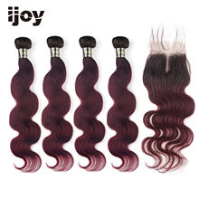 【IJOY】Body Wave M Ombre #99J Maroon Brazilian Hair 4 Bundles With 4x4 Lace Closure 8''-20'' Non-Remy 100% Human Hair(China)