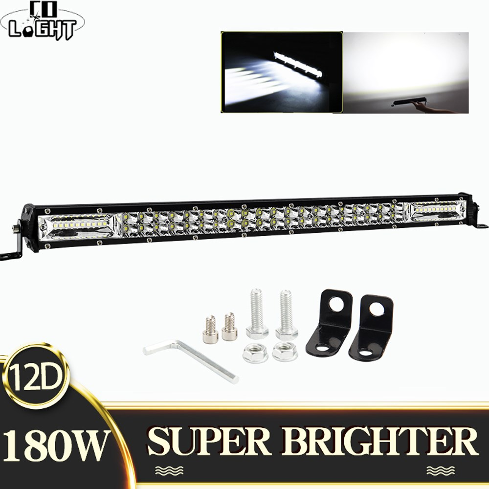 CO LUZ Super Slim 60W 180W 300W Offroad LED Trabalho Light Bar 8