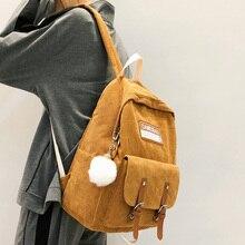 Stripe Cute Corduroy Backpack kawaii Women School Bag Teenage Luxury Girl Backpack Harajuku Female Fashion Bag Student Lady Book