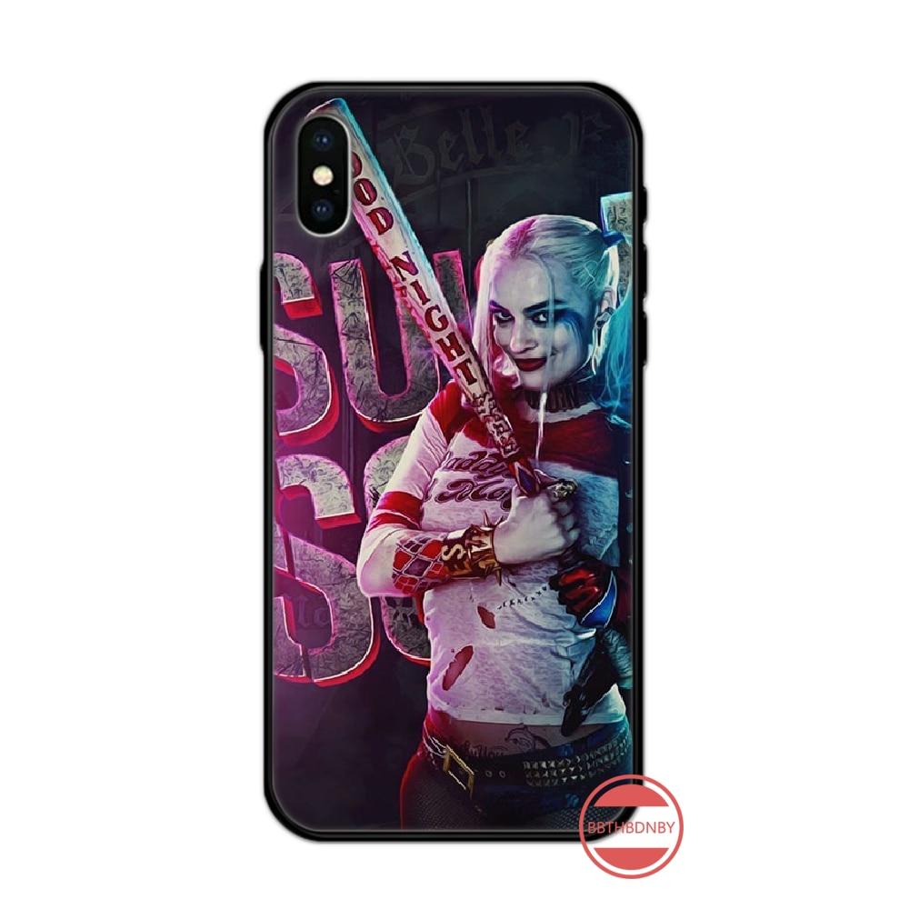 Harley Quinn Joker Amerikanischen Film Schwarz TPU Weiche Gummi Telefon Abdeckung Für iphone 5 5s 5c se 6 6s 7 8 plus x xs xr 11 pro max