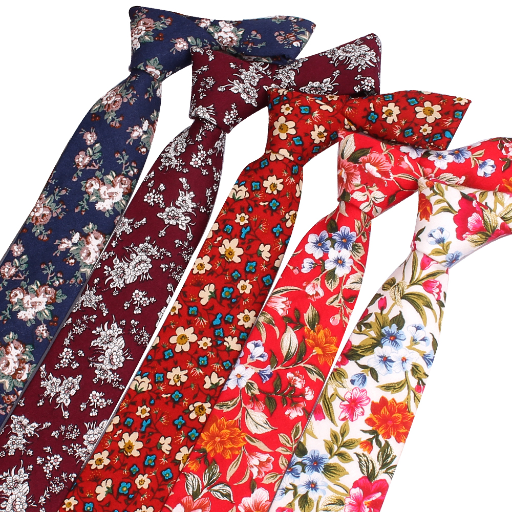 Men Tie Cotton Neckties For Men Women Formal Floral Print Ties For Wedding Party Skinny Groom Neck Ties Corbatas Hombre Cravat