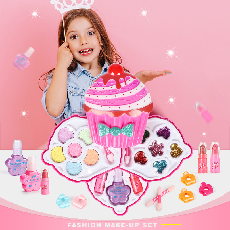 Kids Make Up Toy Set Pretend Play Princess Pink Makeup Beauty Safety Non-toxic Kit Toys For Kids Girls Dressing Cosmetic Gifts
