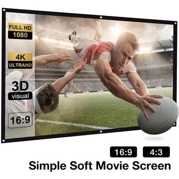 110 Inch 4:3/16:9 Portable Folding Movie Screen HD Crease-resist Indoor Outdoor Projector Screen For Home Theatre Projector excelvan 150 inch 16 9 collapsible pvc hd portable home and outdoor use projector screen with hanging hole for front projection