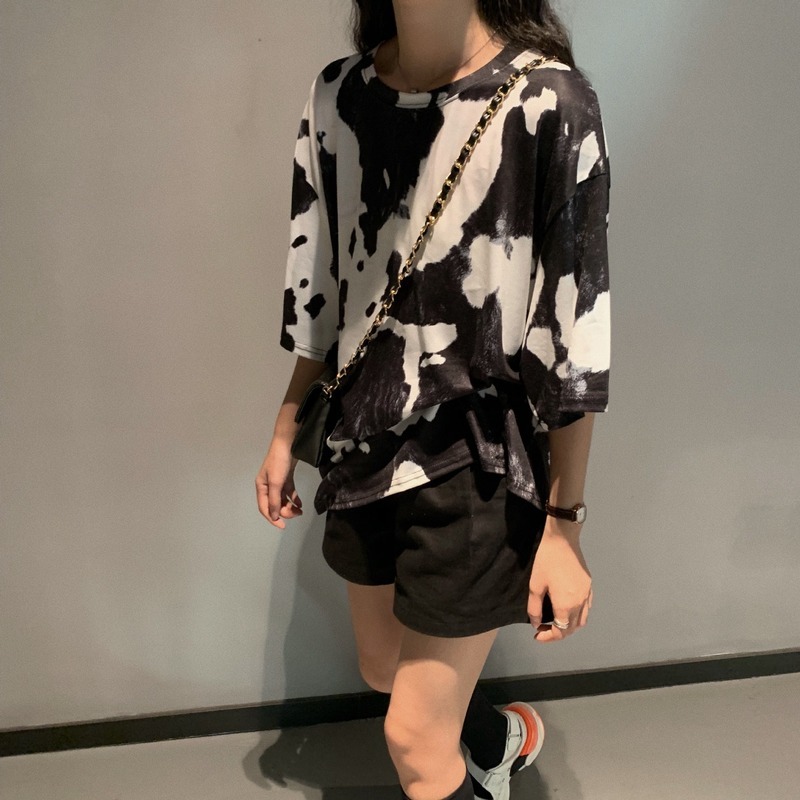 2020 Summer T Shirt Women Girl Korean Style Cow Print Black & White Contrast Short Sleeve Plus Size Loose T-shirt Tops