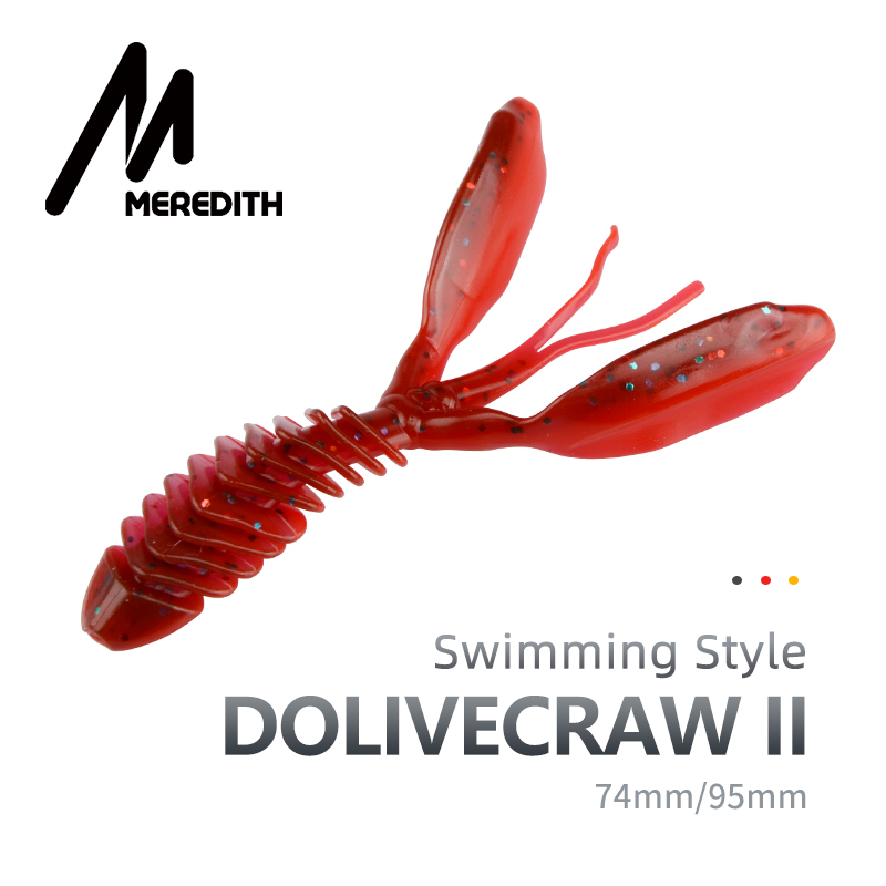 MEREDITH DoliveCraw II Soft Lures 74mm 95mm Jigging Lures Silicone Worm Soft Fishing Baits Shrimp Bass Carp Artificial Tackle|Fishing Lures| |  - title=