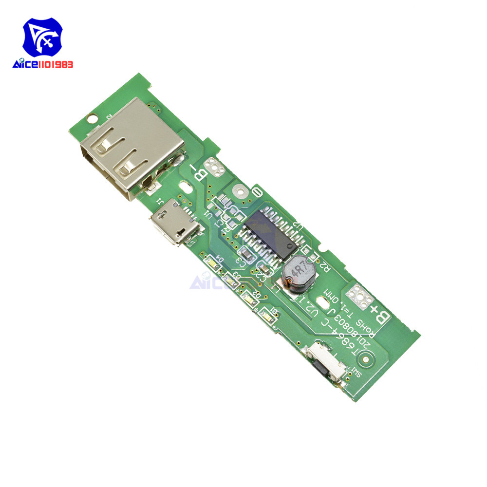 Diymore 18650 Battery Charger PCB Board 5V 2A Mobile Phone USB Micro USB Power Bank LED Indicator Board Module For Xiaomi Huawei