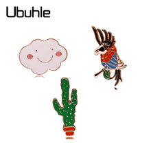 3 Pcs Enamel Brooch Cute Cartoon Clouds Parrot Cactus Lapel Pins Brooches for Women Girls Collar Badge Corsage Clothes Jewelry cute brooch green enamel cactus brooches