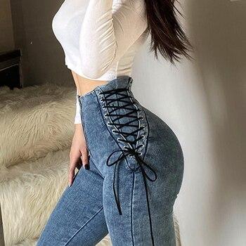 Women High Waist Jeans Woman Sexy Black Blue Elastic Skinny Pencil Pants Female Plus Size Zipper Wash Denim Trousers Girl 1