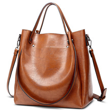 цена на Fashion Women's Bag Europe and America Handbag Oil Wax Leather Women's Bag Shoulder Bucket Bag Tote