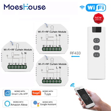 WiFi Smart Blinds Curtain Switch with Remote for Electric Roller Shutter Sunscreen Tuya Smart Life Google Home Alexa 3 PCs