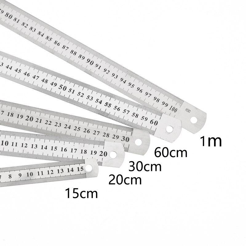 1PC 15cm/20cm/30cm/50cm escala a doble cara recta de acero inoxidable herramienta de medir, regla de la Oficina de la escuela suministros para los estudiantes