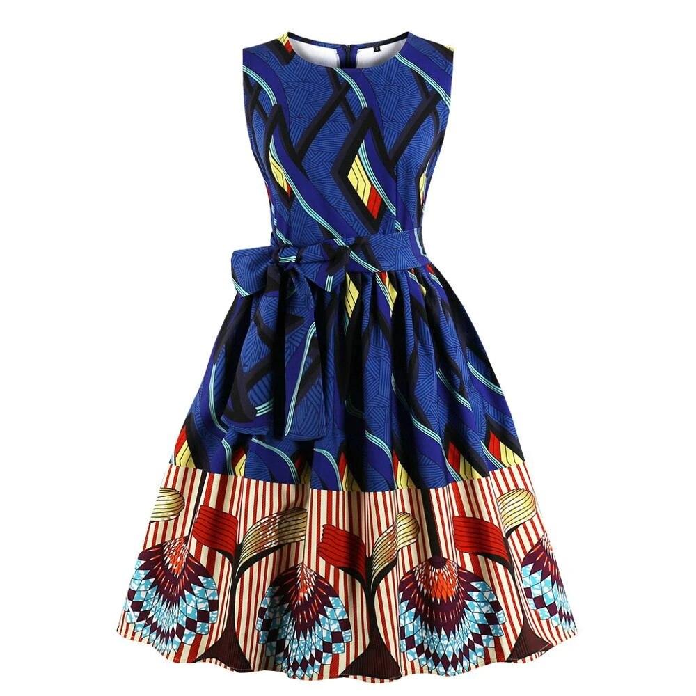 70s Women/'s Summer Dress in Blue