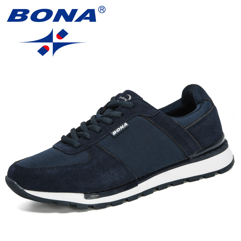 BONA 2020 Suede Leather Men Running Shoes Zapatillas Hombre Deportiva Man Lace-Up Jogging Sneakers Men Sport Shoes Comfortable