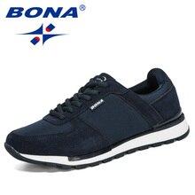 BONA 2020 זמש עור גברים ריצת נעלי Zapatillas Hombre Deportiva איש שרוכים ריצה סניקרס גברים נעלי ספורט נוח