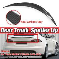 New Real Carbon Fiber Car Rear Trunk Boot Lip Spoiler Wing Lip Big For Tesla Model S Sedan 2012 2019 Wing Spoiler