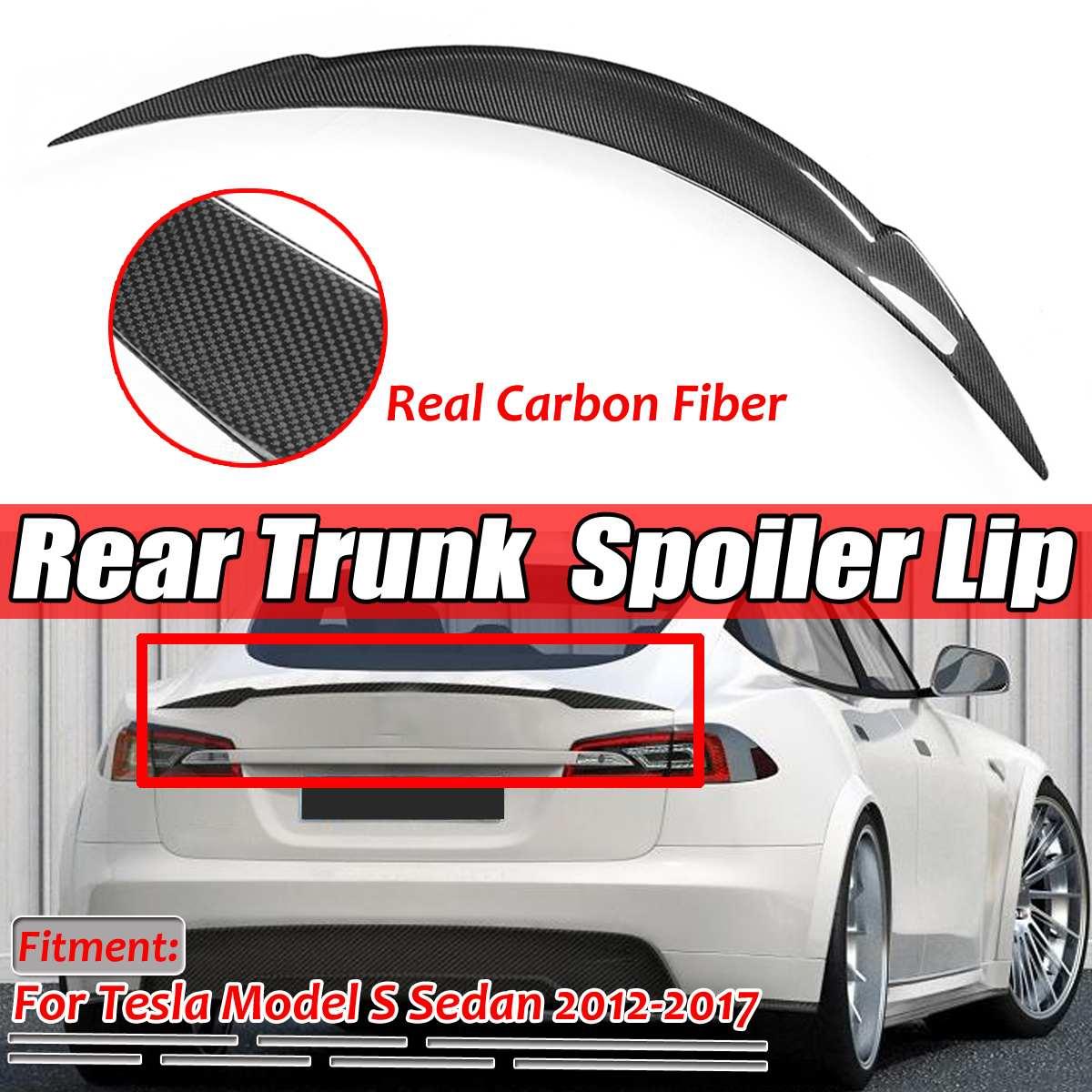 New Real in Fibra di Carbonio Auto Posteriore Tronco Boot Lip Spoiler Ala Lip Grande per Tesla Model S Sedan 2012- 2019 Ala Spoiler