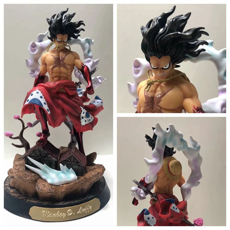 38cm Fairway One Piece Peace Country Anime Figure Collection Snake Man Red Kimono Muscle Luffy Action Figure Children Toys Gift