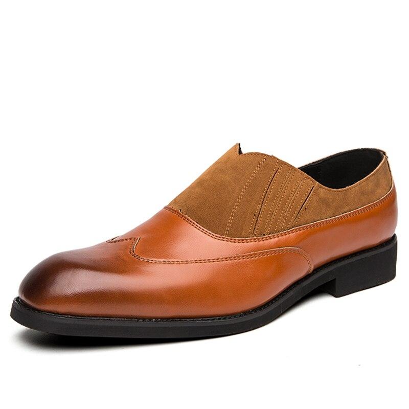 TOSJC/Новые мужские лоферы, винтажные оксфорды с острым носком, Мужская Свадебная формальная обувь, дышащая обувь без шнуровки, деловая модельная обувь, большой размер 48 - Цвет: Brown