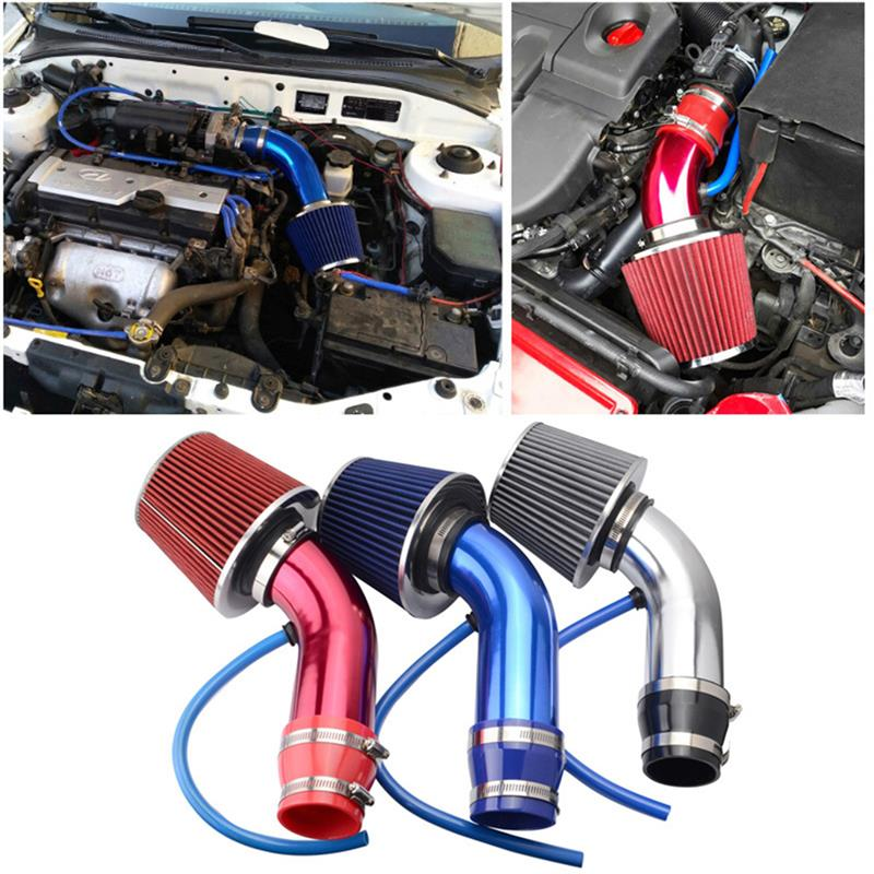 """1 Set Universal Aluminum 3"""" 76mm Car Cold Air Intake System Turbo Induction Pipe Tube+Cone Air Filter Pipe Kit"""