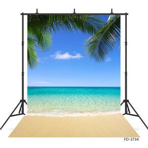 Image 2 - Summer Beach Photography Backgrounds Blue Sky Ocean Palm Waves Vinyl Photo Backdrops for Wedding Children Portrait Photo Studio
