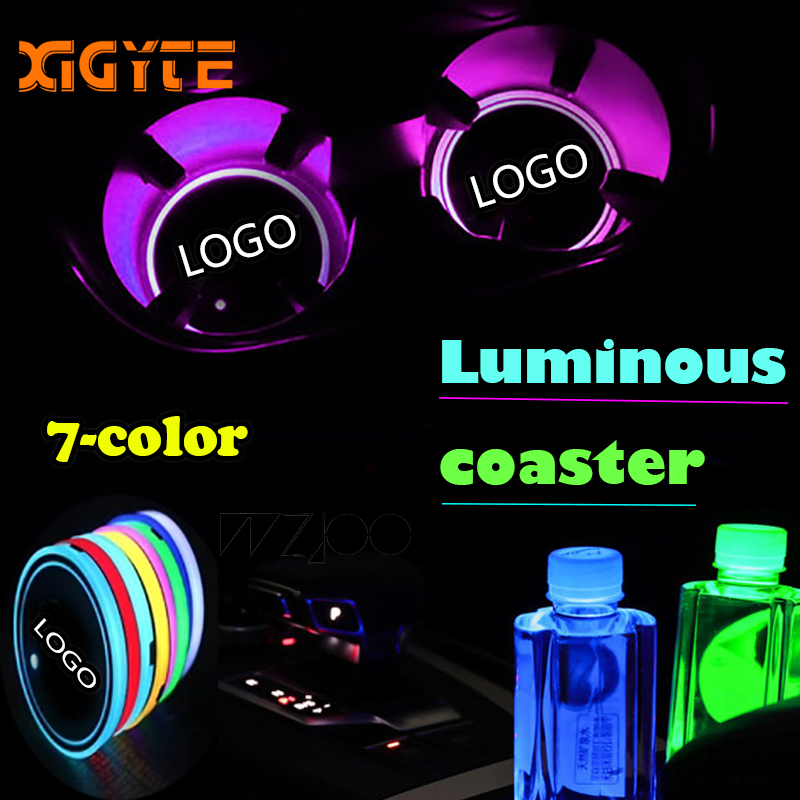 2 Pcs NEW Car Logo LED Light Cup Holder Pads Light Mats Bottle Coasters For Honda BMW AMG Toyota Audi Opel Jeep Car Accessories