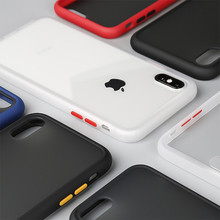 Case For iPhone Xs Max X 7 8 Plus Transparent Matte Silicone Bumper Hard PC Back Cover For iPhone Xr 6 6s Plus Tempered Glass цена и фото
