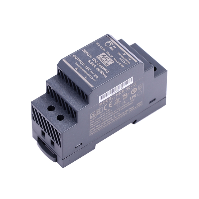 Original Mean Well HDR 30 12 DC 12V 2A 24W meanwell Ultra Slim Step Shape DIN Rail Power Supply