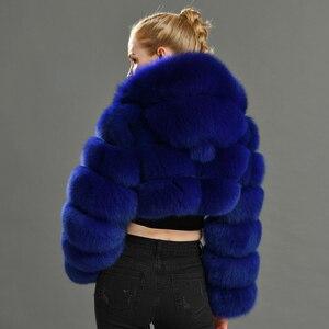 Image 5 - 2019 inverno Reale della Pelliccia di Fox Delle Donne di Cappotti Naturale Genuino Femminile Giacca di Pelliccia di Volpe di Alta Qualità Delle Signore Cappotto di Pelliccia Con Cappuccio