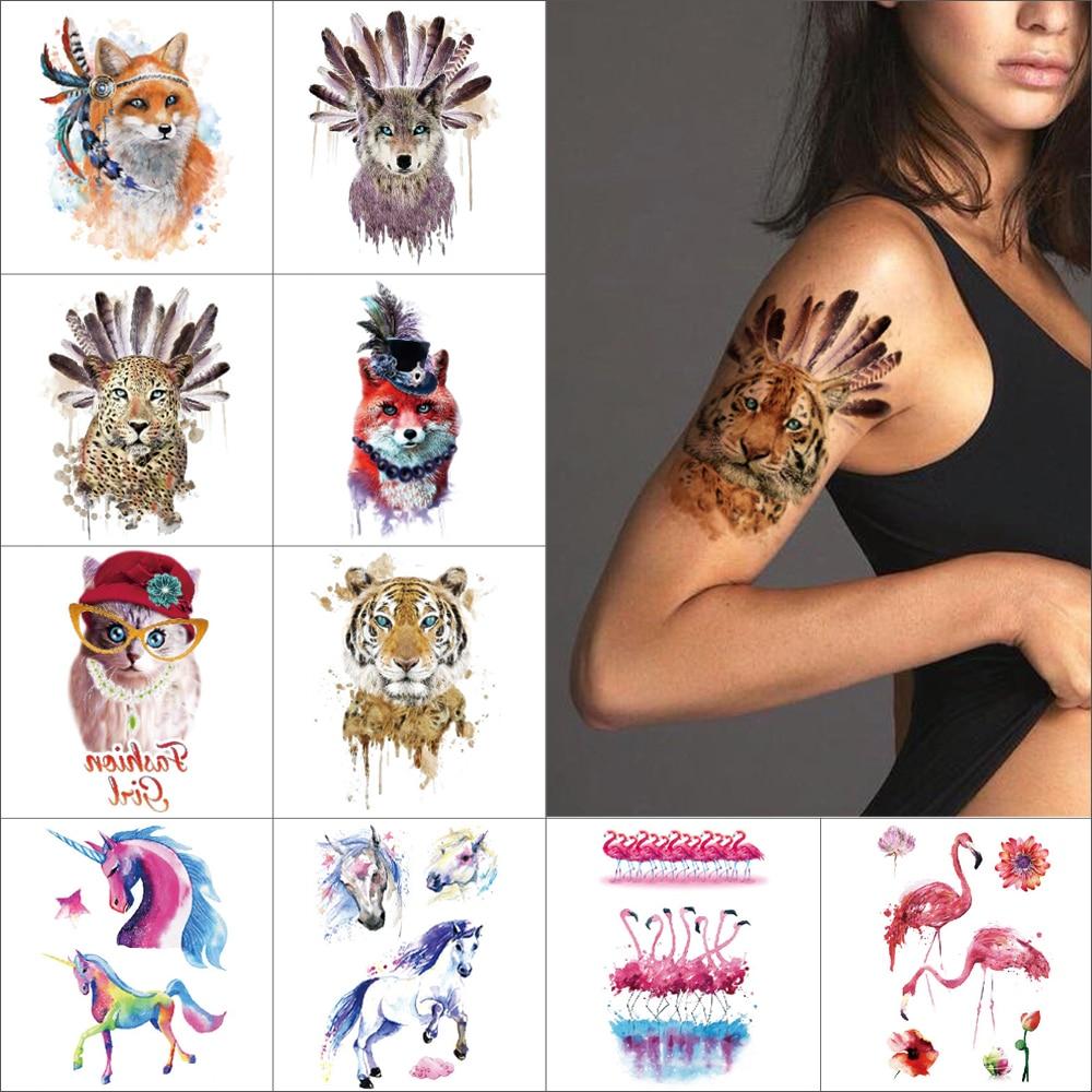 Watercolor Arm Temporary Tattoo Sticker Flamingo Unicorn Waterproof Body Art Tattoo Feather Tiger Leopard Fox Fake Tattoo