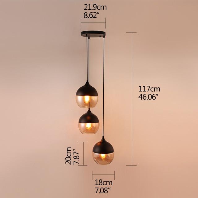 Modern combination creative 3 E27LED indoor lighting hanging lamps bedroom hall living room loft office bar glass pendant lights 2
