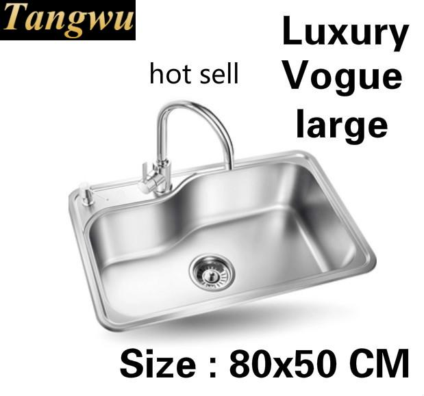 Free Shipping Apartment Multifunction Wash Vegetables Large Kitchen Single Trough Sink 304 Stainless Steel Luxury  800x500 MM