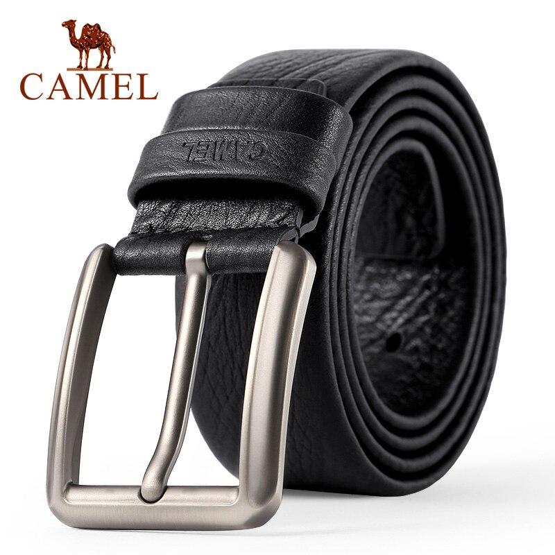 CAMEL New Men Belt Genuine Cow Leather Business Wild Casual Buckle Belt Cross Buttonhole Design Flexible Male Belts