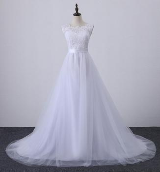 luxury bridal WEDDING gown lace up SLEEVELESS wedding dresses PLUS SIZE O NECK anniversary ceremony wedding DRESS with train