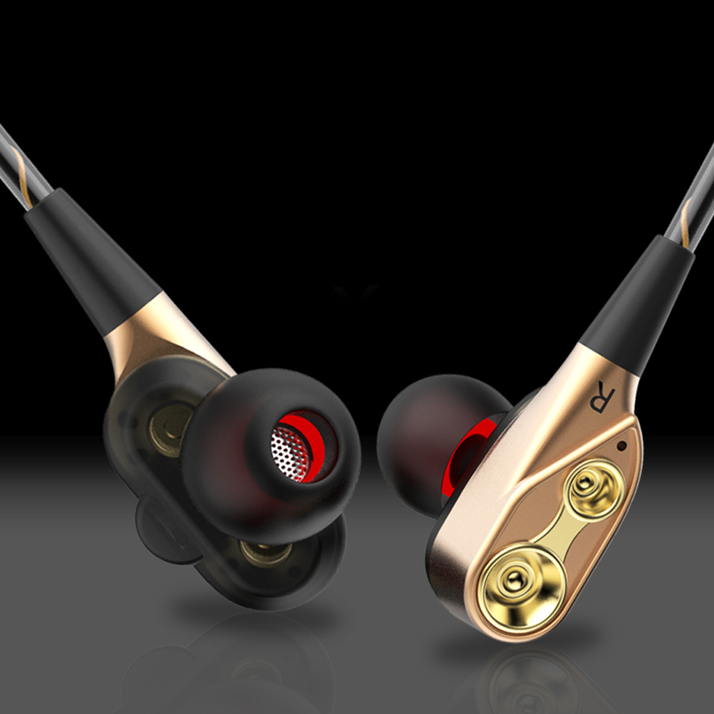 3.5mm Dual Drive Stereo AUX Jack Earphones Bass In-Ear Headset Earbuds Headset Earphones For IPhone Huawei Xiaomi For Tablet