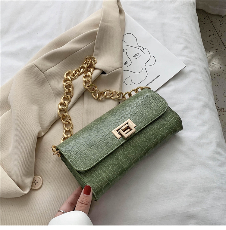 Crocodile Pattern Vintage Soild Color Small Square Bag For Women 2020 summer Handbag And Small Chain Bags Fashion Armpit Bag (17)
