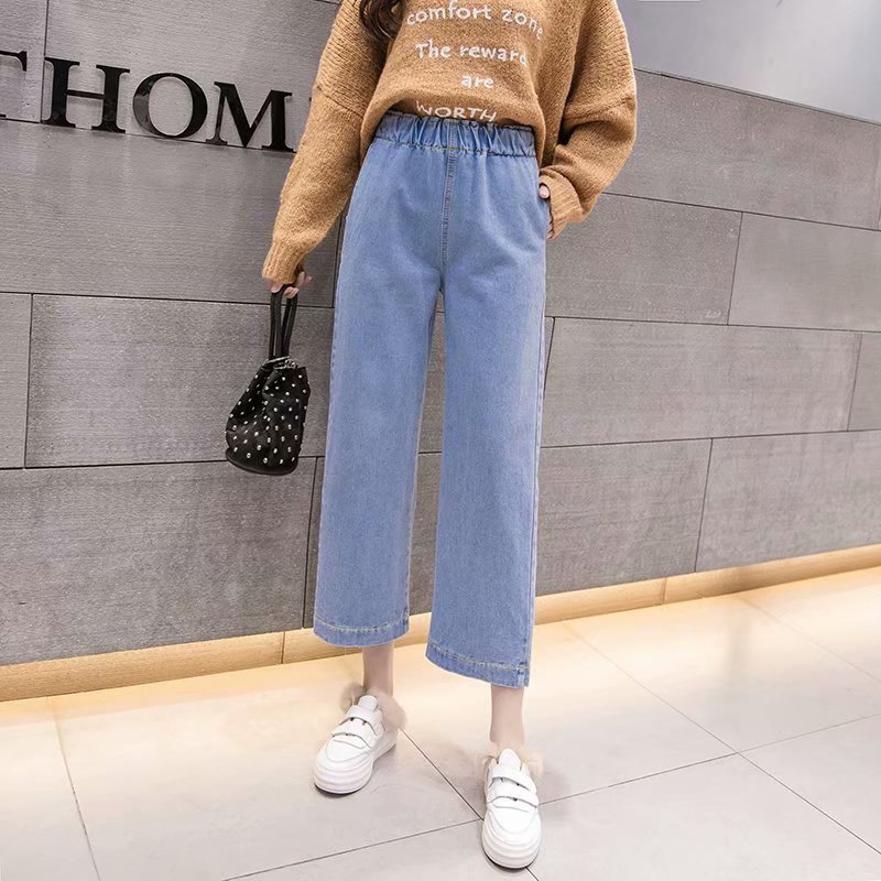 Women High Waist Jeans 2019 Autumn Fashion Boyfriend Wide Leg Jeans Blue Loose Ankle Length Trousers Jeans