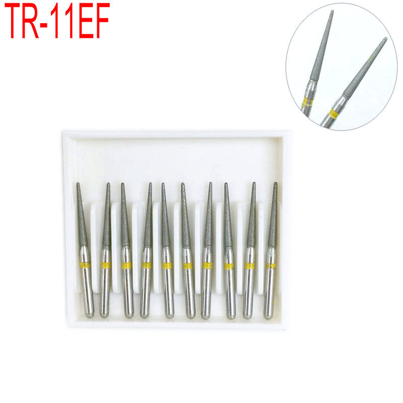10pcs TR-11EF Dental Diamond Burs Drill For Teeth Polishing Whitening Extra Fine High Speed Handpiece FG 1.6M