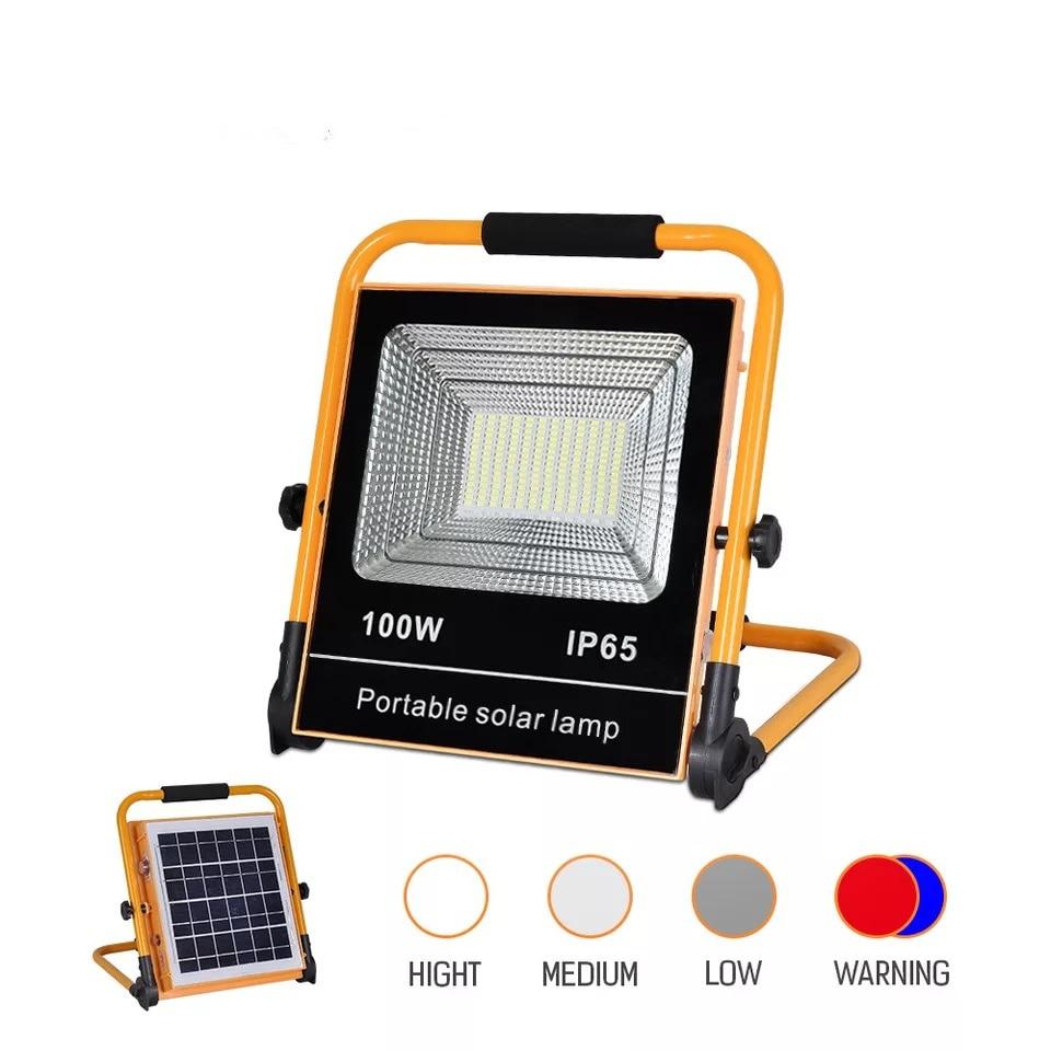 50W 100W Светодиодный Солнечный прожектор светильник уличный поисковый светильник IP65 Водонепроницаемый светодиодный уличный светильник ланд