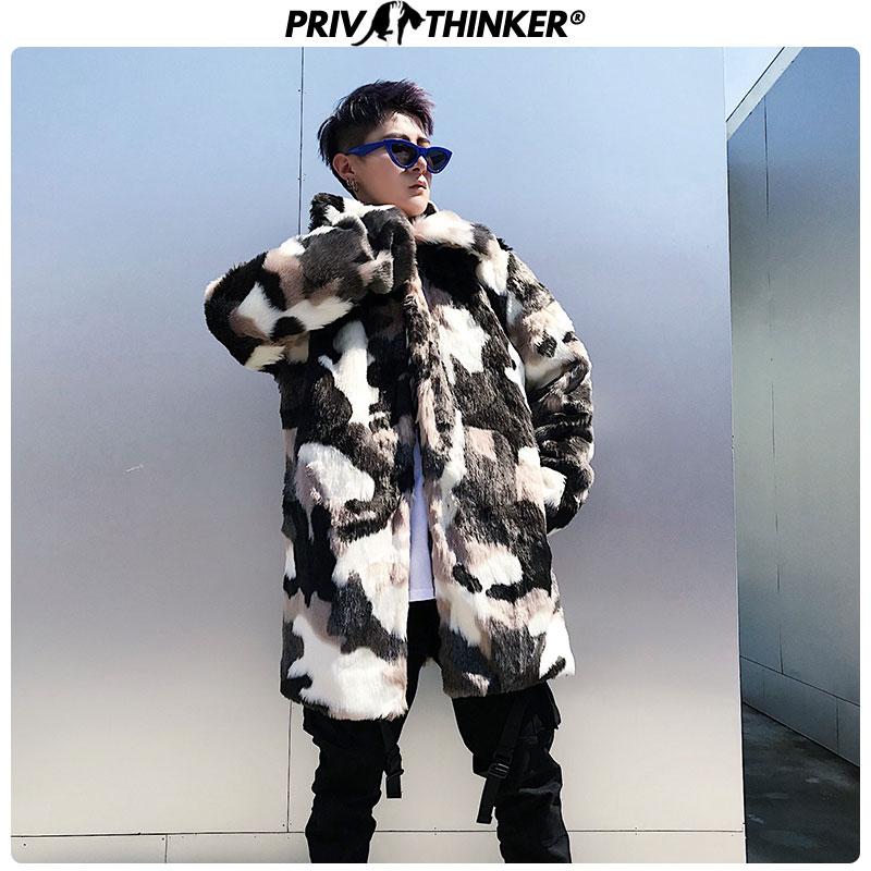 Privathinker, мужской модный Камуфляжный Длинный плащ из искусственного меха, мужская куртка в стиле хип хоп, утолщенная теплая парка, Мужская зим... - 6
