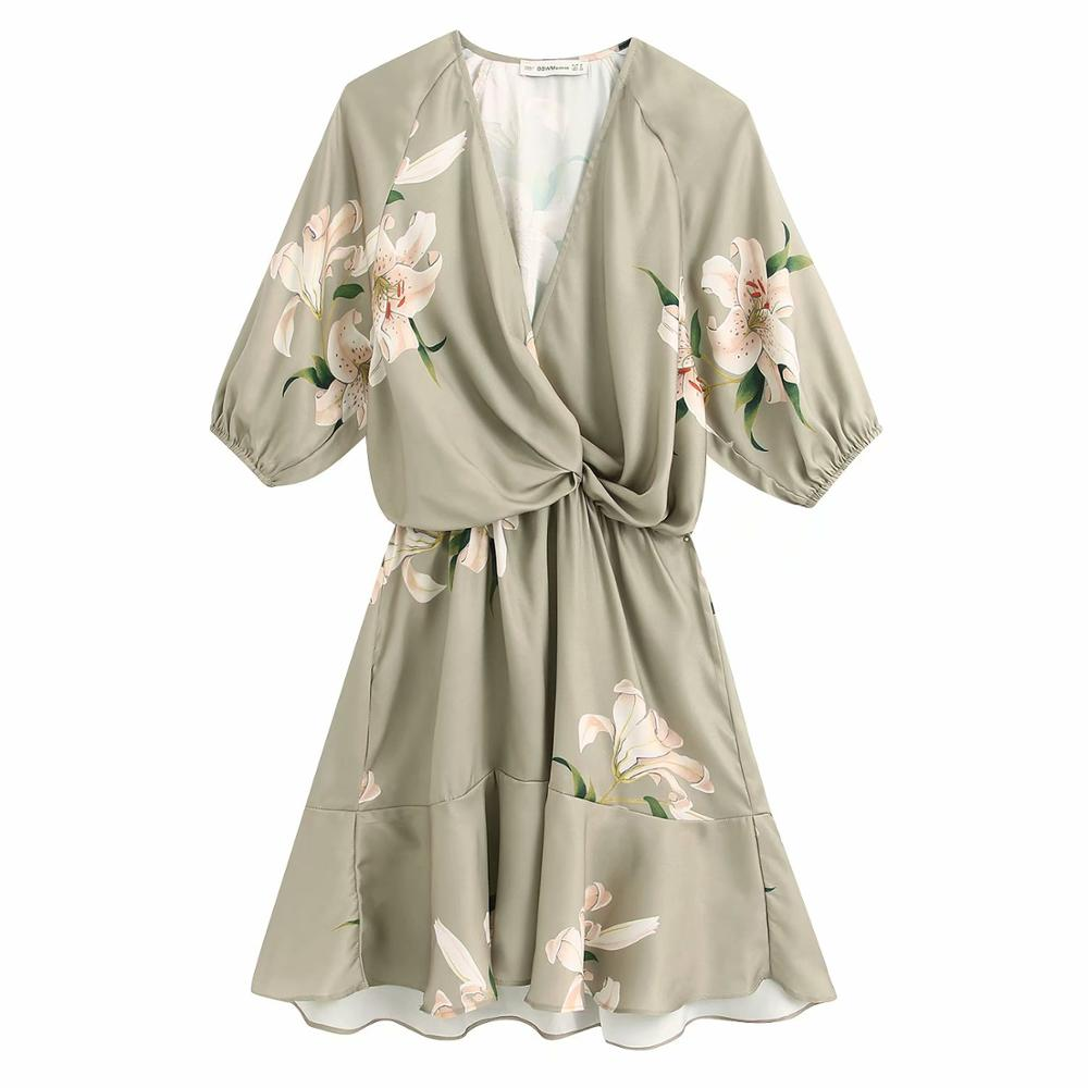 2020 Women Elegant Cross V Neck Knotted Flower Print Casual Slim A Line Dress Female Hem Ruffles Vestidos Spring Dresses DS3398