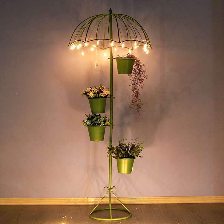 Balcony Decor Plant Stand Umbrella Iron Flower Rack Floor Succulent Planter  Indoor Plant Stand Metal Garden Decors Metal Shelf